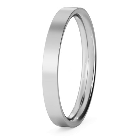 Flat Court Wedding Ring - 2.5mm width, Thin depth - HWNC2513