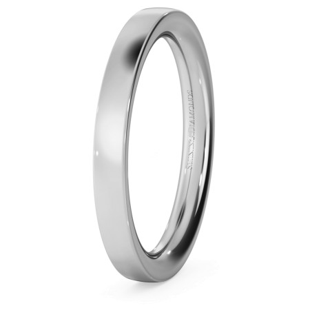 Flat Court Wedding Ring - Heavy weight, 2.5mm width - HWNC2521
