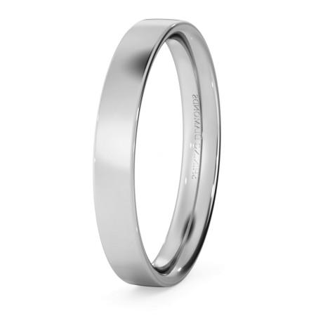 Flat Court Wedding Ring - 3mm width, Thin depth - HWNC313