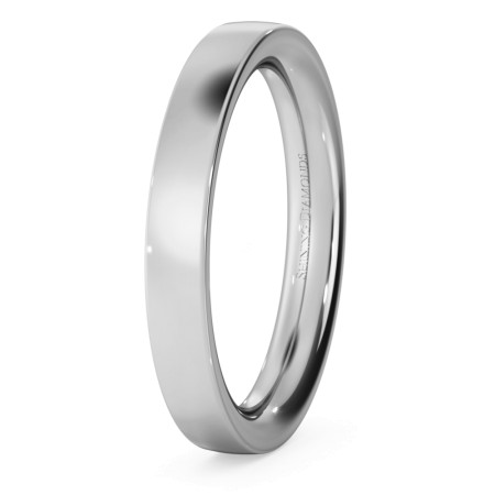 Flat Court Wedding Ring - Heavy weight, 3mm width - HWNC321