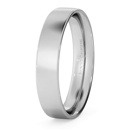 Flat Court Wedding Ring - 4mm width, Thin depth - HWNC413