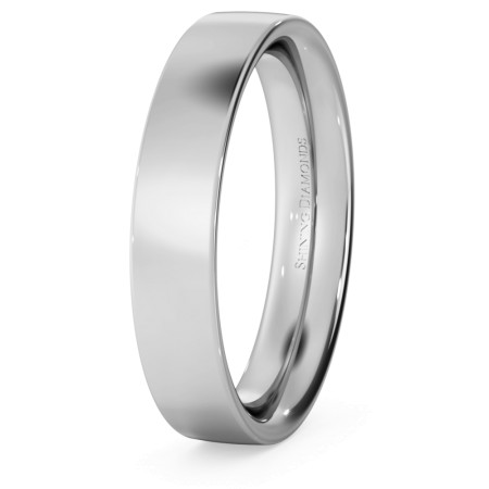 Flat Court Wedding Ring - 4mm width, Medium depth - HWNC417