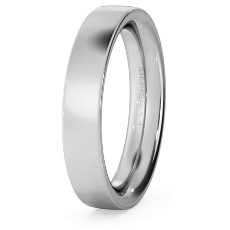 Flat Court Wedding Ring - Heavy weight, 4mm width - HWNC421