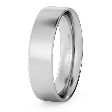 Flat Court Wedding Ring - 5mm width, Thin depth - HWNC513
