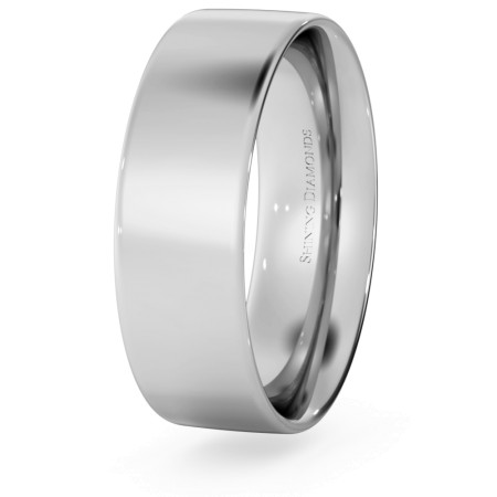 Flat Court Wedding Ring - 6mm width, Thin depth - HWNC613