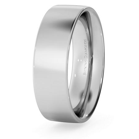 Flat Court Wedding Ring - 6mm width, Medium depth - HWNC617