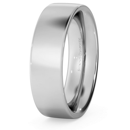Flat Court Wedding Ring - Heavy weight, 6mm width - HWNC621