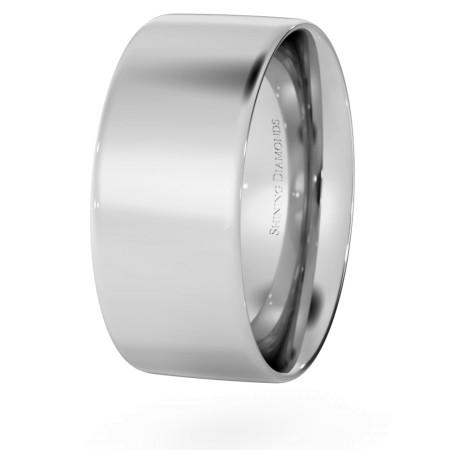 Flat Court Wedding Ring - 8mm width, Thin depth - HWNC813