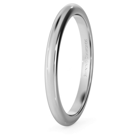 D Shape Wedding Ring - 2mm width, Medium depth - HWND217