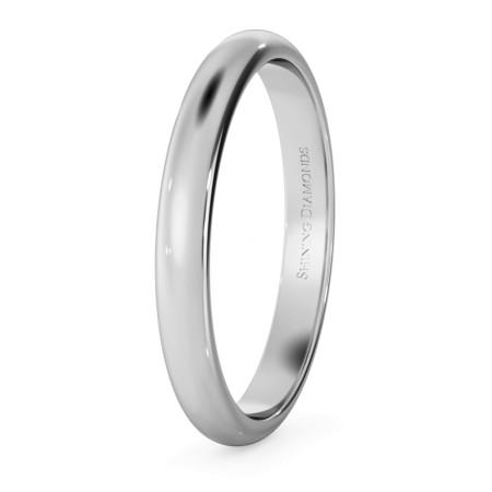 D Shape Wedding Ring - Lightweight, 2.5mm width - HWND2513