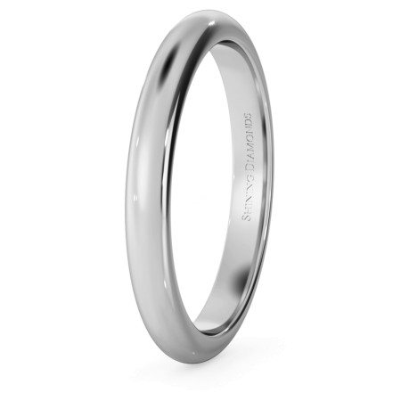D Shape Wedding Ring - 2.5mm width, Medium depth - HWND2517