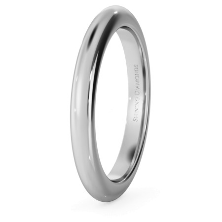 D Shape Wedding Ring - Heavy weight, 2.5mm width - HWND2521