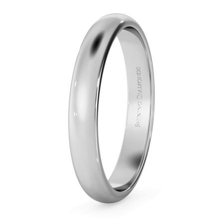D Shape Wedding Ring - Lightweight, 3mm width - HWND313