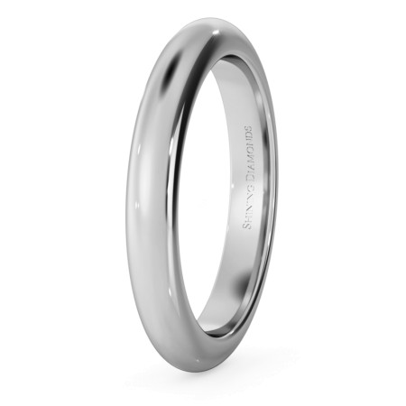 D Shape Wedding Ring - Heavy weight, 3mm width - HWND321