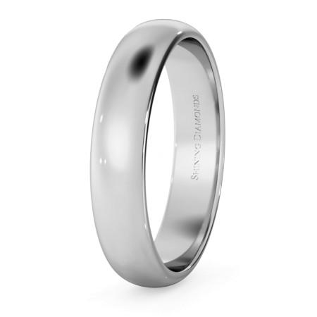 D Shape Wedding Ring - Lightweight, 4mm width - HWND413