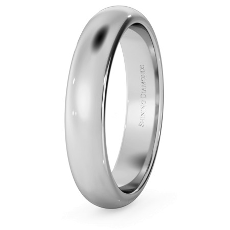 D Shape Wedding Ring - 4mm width, Medium depth - HWND417