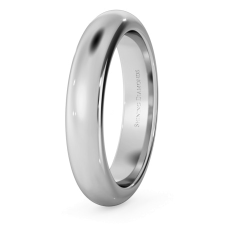 D Shape Wedding Ring - Heavy weight, 4mm width - HWND421