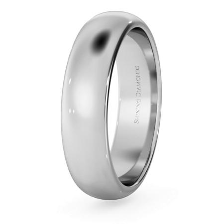 D Shape Wedding Ring - 5mm width, Medium depth - HWND517