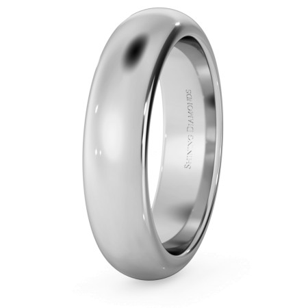 D Shape Wedding Ring - Heavy weight, 5mm width - HWND521