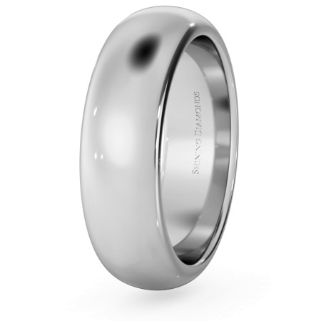 D Shape Wedding Ring - Heavy weight, 6mm width - HWND621