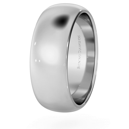D Shape Wedding Ring - 7mm width, Medium depth - HWND717