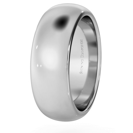 D Shape Wedding Ring - Heavy weight, 7mm width - HWND721