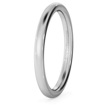 Traditional Court Wedding Ring - 2mm width, Medium depth - HWNE217