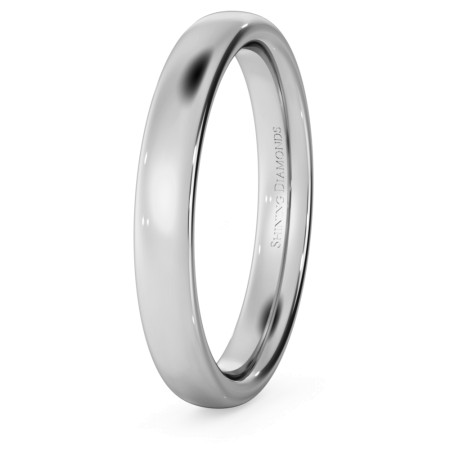 Traditional Court Wedding Ring - 3mm width, Medium depth - HWNE317