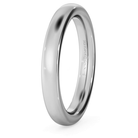 Traditional Court Wedding Ring - Heavy weight, 3mm width - HWNE321