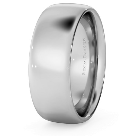 Court Shape Wedding Ring - 7mm width, 1.7mm depth - HWNE717
