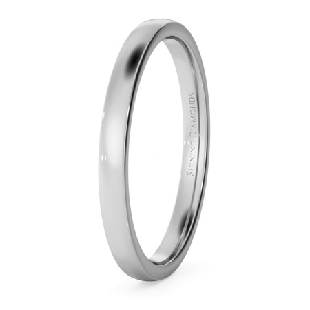 Slight Court with Flat Edge Wedding Ring - Light weight, 2mm width - HWNJ213