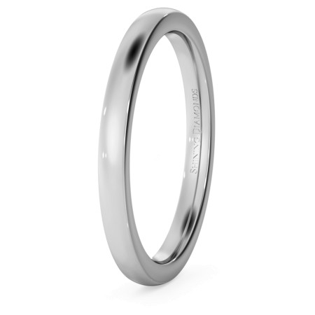 Slight Court with Flat Edge Wedding Ring - 2mm width, Medium depth - HWNJ217