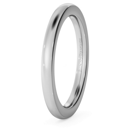 Slight Court with Flat Edge Wedding Ring - 2mm width, 2.3mm depth - HWNJ221