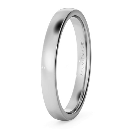 Slight Court with Flat Edge Wedding Ring - Light weight, 2.5mm width - HWNJ2513