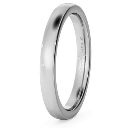 Slight Court with Flat Edge Wedding Ring - 2.5mm width, Medium depth - HWNJ2517