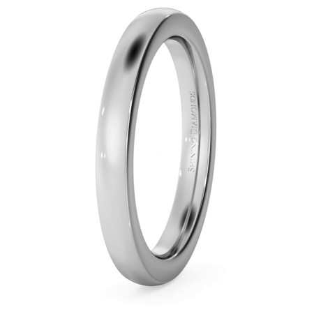 Slight Court with Flat Edge Wedding Ring - 2.5mm width, 2.3mm depth - HWNJ2521