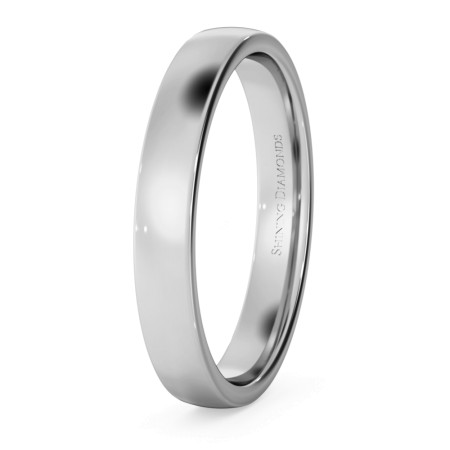 Slight Court with Flat Edge Wedding Ring - Light weight, 3mm width - HWNJ313