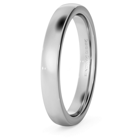 Slight Court with Flat Edge Wedding Ring - 3mm width, Medium depth - HWNJ317