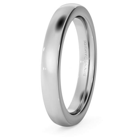 Slight Court with Flat Edge Wedding Ring - 3mm width, 2.3mm depth - HWNJ321