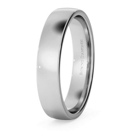 Slight Court with Flat Edge Wedding Ring - Light weight, 4mm width - HWNJ413