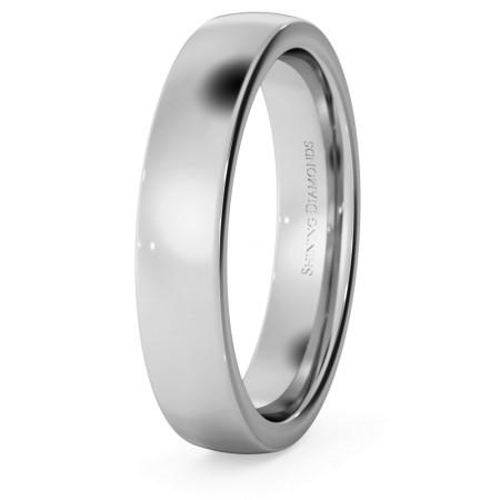 Slight Court with Flat Edge Wedding Ring - 4mm width, Medium depth - HWNJ417