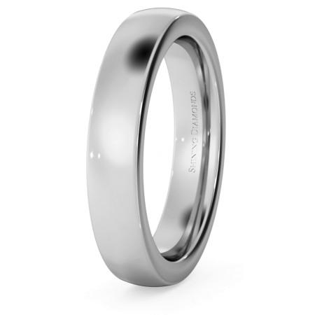 Slight Court with Flat Edge Wedding Ring - 4mm width, 2.3mm depth - HWNJ421