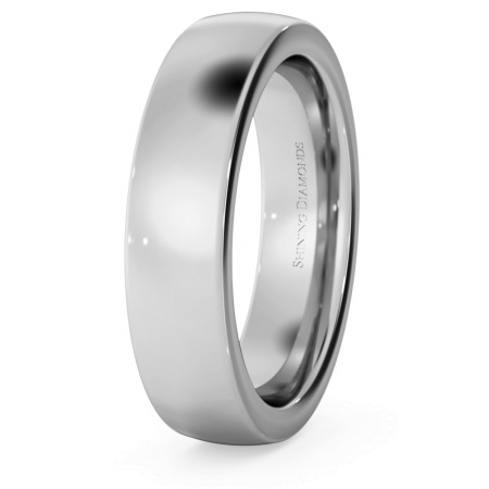 Slight Court with Flat Edge Wedding Ring - 5mm width, 2.3mm depth - HWNJ521