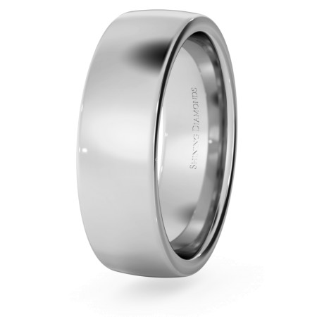 Slight Court with Flat Edge Wedding Ring - 6mm width, Medium depth - HWNJ617