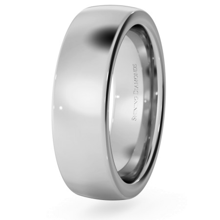 Slight Court with Flat Edge Wedding Ring - 6mm width, 2.3mm depth - HWNJ621