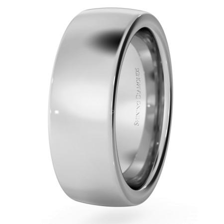 Slight Court with Flat Edge Wedding Ring - 7mm width, 2.3mm depth - HWNJ721