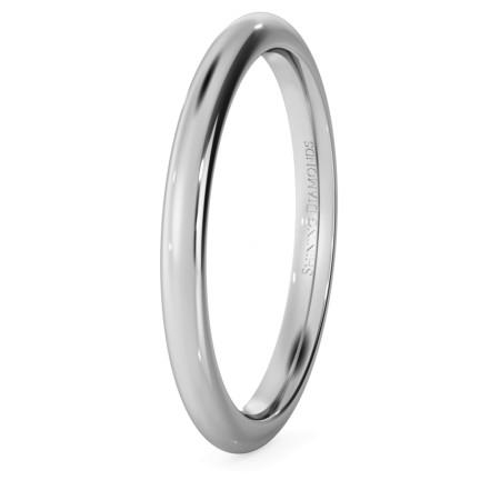 D Court Wedding Ring - 2mm width, 1.8mm depth - HWNP217