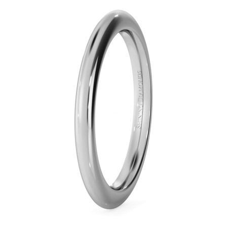 D Court Wedding Ring - 2mm width, 2.3mm depth - HWNP221