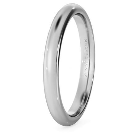 D Court Wedding Ring - 2.5mm width, 1.8mm depth - HWNP2517