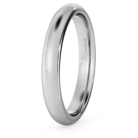 D Court Wedding Ring - 3mm width, 1.8mm depth - HWNP317